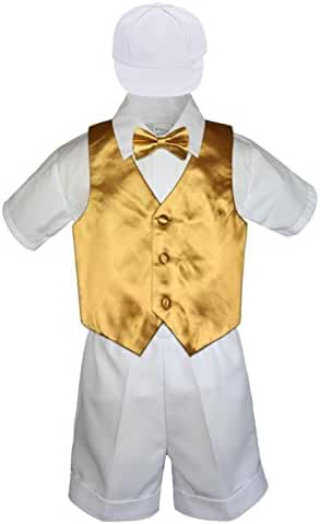 6pc Baby Toddler Little Boys White Shorts Extra Vest Bow Tie Sets S-4T (L:(12-18 months), Gold)