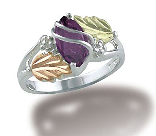 Landstroms Black Hills Gold February Birthstone Ring in Sterling Silver with marquise shaped 10 X 5 MM synthetic Amethyst Gemstone - Ring Size (Marquise Shaped Stones)