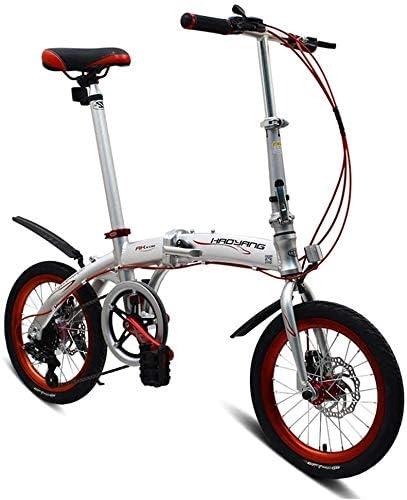 自転車 可変速折りたたみ自転車自転車マウンテンバイク都市バイク大人の学生の子供の自転車ロードバイク16インチミニ自転車6スピード (Color : White)