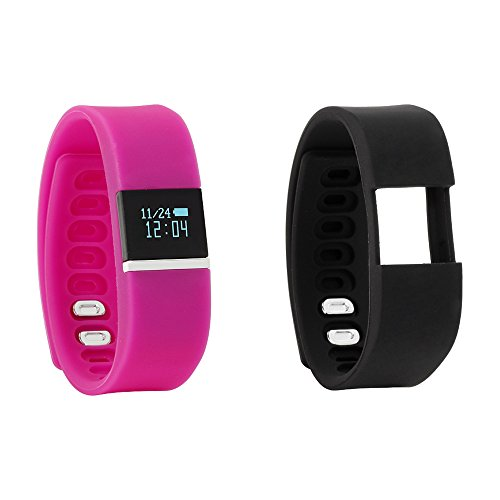 iTouch iFitness Bluetooth Smart Watch with 2 Sports Bands, Modern Clock, Calorie Tracker, Step Counter, Fitness and Activity Tracking, Remote Camera Function, Sleep Monitor (Fuschia/Black)