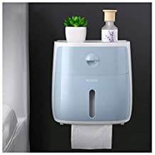 BOSHDEN Soporte para Papel Higiénico Almacenamiento para Baño/Inodoro Soporte para Papel Higiénico Papel Impermeable/A Prueba De Polvo Portarrollos Instalación De Perforación Gratuita,Blue