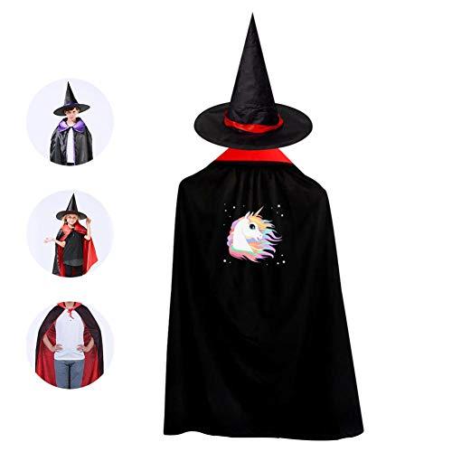 69PF-1 Halloween Cape Matching Witch Hat Rainboe Unicorn Head Wizard Cloak Masquerade Cosplay Custume Robe Kids/Boy/Girl Gift Red -