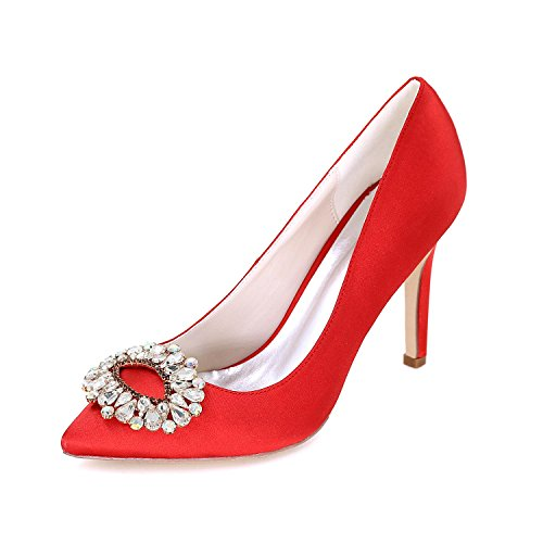 L Up Party amp; Terrace Evening Dress Leisure Satin Women'S Red autumn Shoes Professional YC Spring Wedding Summer Office raq16r