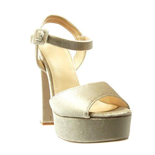 Angkorly - Chaussure Mode Sandale Escarpin plateforme sexy femme lanière Talon haut bloc 14 CM - Beige