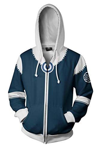 Dawn BG Unisex Adults Avatar Cosplay Costume Hoodie 3D Printed Zipper Jacket (S, Blue) -
