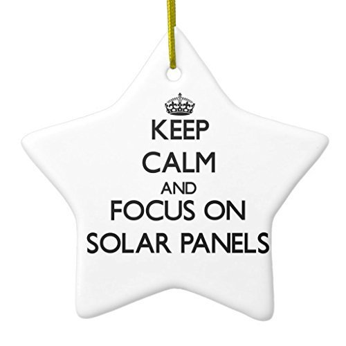 Enid545Anne Keep Calm and Focus On Solar Panels Ceramic Ornament New Yeay Gift Star Xmas Decor Ornament New Yeay Gift Yard Decorations