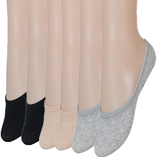 No Show Socks Women Womens Socks Cotton Loafer Liner Non Slip Socks for Women Liners Boat Low Cut Rise Flat Shoes Casual Athletic Ankle Socks 6 Pairs-101 Asst M