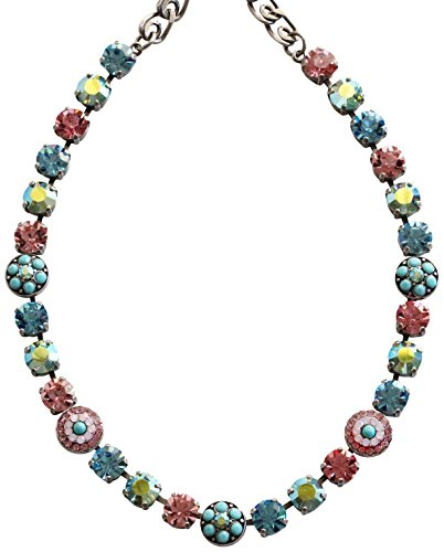 Mariana Silvertone Flower Shapes Crystal Necklace, 16'' ''Summer Fun'' Blue Pink 3044/1 3711 by Mariana