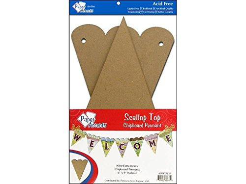 Accent Design Paper Accents ADPPEN.19 Scallop Top 6x9 Natural Chipboard Chip Pennant (Chips Chipboard)