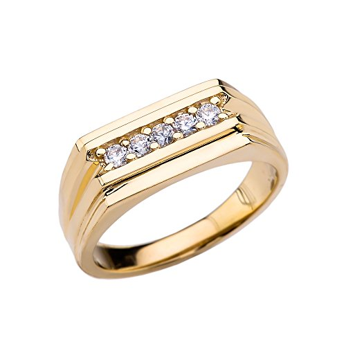 10k Yellow Gold 0.25 Carat Diamond Men's Ring (Size 6) ()