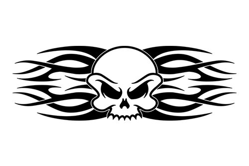 - Sticky Creations - Design #118-01 Skull Rear Back Window Decal Sticker Vinyl Graphic Tribal Tribal Flame Spikes Swoosh Tailgate Car Truck SUV Van Boat Trailer Wall| 36