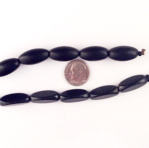 Coin Textured Pearl - Imagine If...Beads Wood Tri-Oval Black 10x21mm Textured