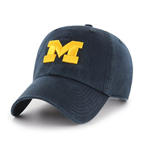 OTS NCAA Michigan Wolverines Challenger Clean Up Adjustable Hat, Navy, One Size (Michigan Wolverines Team Visor)