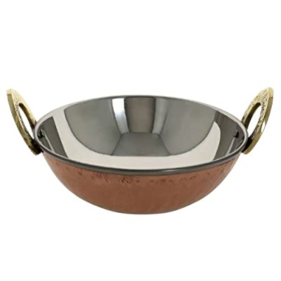 Serving Bowl Karahi Kadai Pan for Indian Food - Stainless Steel Hammered Copper Serveware Accessories