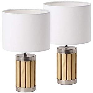 BRUBAKER – Lampe de table/de chevet – Lot de 2 – Design moderne – Hauteur 33 cm – Pied en Bois & Métal – Abat-jour en…