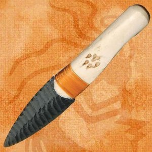 Native Indian Buffalo Rib Obsidian Blade Knife
