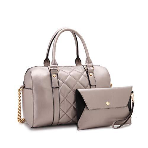 - MMK Collection Fashion Satchel handbag~(7566/7370) Soft/Patent Vegan Leather~Beautiful Designer Purse~Perfect Shoulder Bag~Fashion handbag Set for Women(Matching Wallet Set 7566 Pewter)