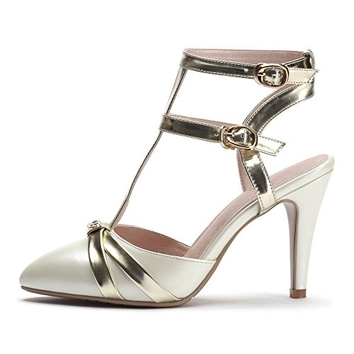 Balamasa Dames Double Breasted Puntige Teen Zachte Sandalen Wit