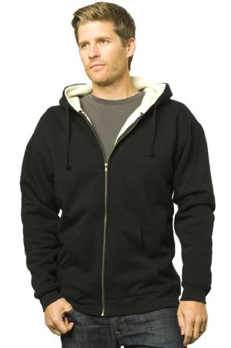 Independent Trading Co Sherpa Lined Full-Zip Hooded Sweatshirt. EXP40SHZ - XXX-Large - Black / Natural ()