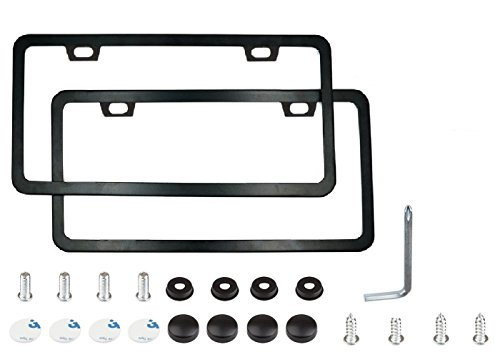 Matte License Plate Frame with Chrome Screw Caps, DKMHA 2Pcs 2 Holes Black License Plate Frames, Car License Plate Covers For US - Bmw Plate Number