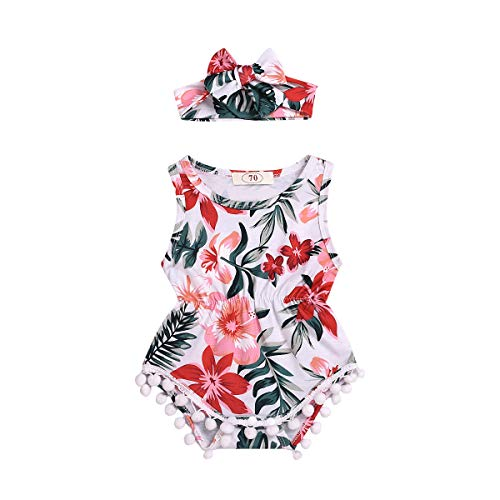 Infant Baby Girls Floral Pompom Tassels Romper Bodysuit Sleeveless Jumpsuit Outfit with Headband Summer Clothes (Floral-White+Red, 12-18 Months) Cute White Baby Cloth