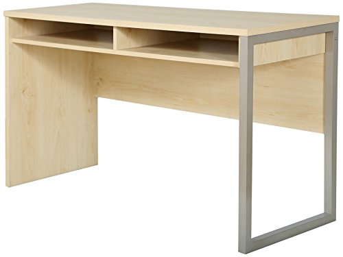 South Shore Interface Desk – Sleek Metal Finish – Open Storage for Laptop and Tablet – Natural Maple ()