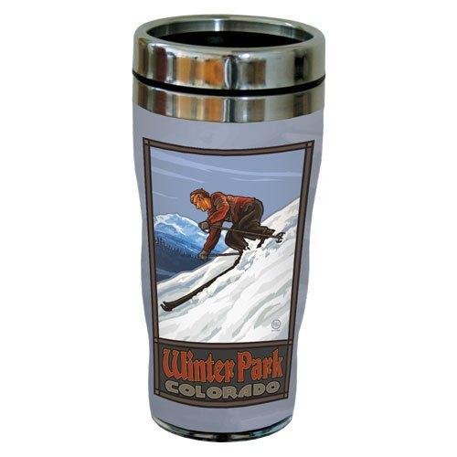 TreeFree Greetings 77456 Winter Park Ski Jump by Paul A. Lanquist Vintage Art Sip 'N Go Travel Tumbler, Stainless Steel, 16-Ounce, Multicolored