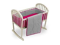 Baby Doll Bedding Reversible Cradle Bedding, Hot Pink/Grey