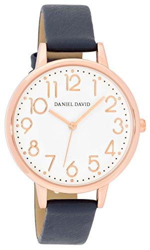 Women's Watches by Daniel David - Classic Rose Gold With Navy PU Leather Band Watch - Make Every Second Count - - Navy And Rose Gold