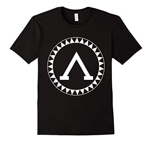 Mens Spartan Shield T-Shirt Sparta Iliad Ancient Greece Greek Tee Medium Black
