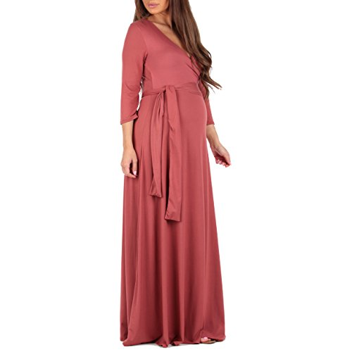 Review Mother Bee Women's Faux Wrap Maternity Dress With Adjustable Belt by