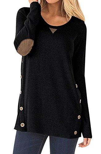 [해외]Lifenee1 여자 여름 사이드 버튼 짧은 소매 탑스 T- 셔츠 크루 넥 단색 캐주얼 블라우스 티셔츠 (S-XXL)/Lifenee1 Womens Summer Side Button Short Sleeve Tops T-Shirt Crew Neck Solid Color Casual Blouse Tees(S-XXL)