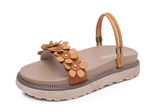 LL STUDIO Womens' Modern Stylish Tan Thick Bottom Flats Slippers Sandals 8 B(M) US
