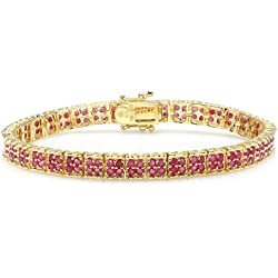 7.00 CT Real Round Cut Genuine Red Ruby 18K Yellow Gold Plated 925 Sterling Silver Tennis Bracelet (6.5 MM Width x 8 Inch Length)