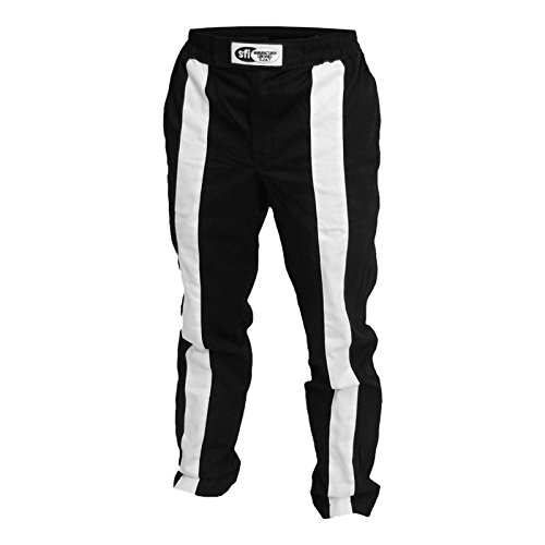 - K1 Race Gear Triumph 2 Single Layer SFI-1 Proban Cotton Fire Pants (Black/White, X-Large)