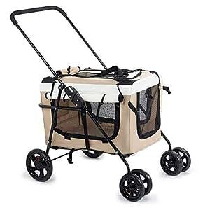 Pet stroller Outdoor Travel Pet Stroller,Foldable 4-Wheel Pet Stroller,Pet Supplies,Lightweight and Portable Pet Stroller, for Small and Medium Pets (Color : Khaki)