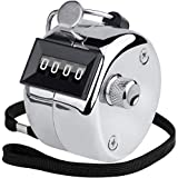 KTRIO Metal Hand Tally Counter 4-Digit Tally Counters Mechanical Palm Counter Clicker Counter Handheld Pitch Click Counter Number Count for Row, People, Golf, Lap & Knitting, Silver