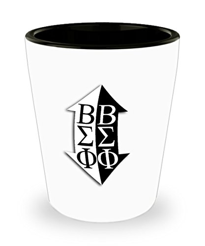 Beta Sigma Phi - Sorority Shot Glass - Sisters Pledges House Gift - One 1.5oz Ceramic Jigger Toothpick Holder Pill Cup