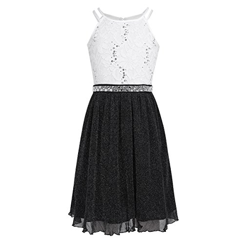 FEESHOW Big Girls Sequins Lace Bodice Halter Junior Bridesmaid Dress Shimmer Mesh Wedding Party Prom Gown Black&White 14]()