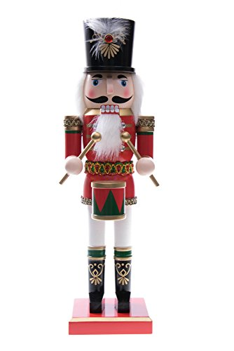 (Traditional Soldier Drummer Nutcracker by Clever Creations | Hat and Drum | Red Uniform | Perfect for Any Collection | Festive Christmas Decor | Perfect for Shelves & Tables | 100% Wood | 14