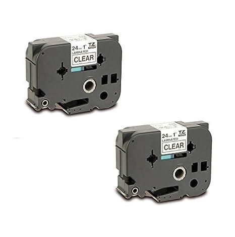2x TZe-151 TZ-151 noir sur transparent 24mm x 8m Rubans /Étiquettes compatibles avec Brother P-Touch PT-2430PC 3600 9600 9700 9800 D600VP D800W E300VP E550WVP E850 H500 H500LI P700 P750W Etiqueteuses