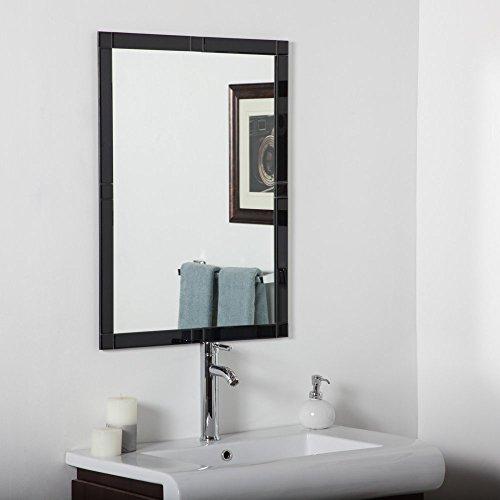 UPC 094351140454, Decor Wonderland Frameless Beveled Black Kinana Wall Mirror - 24W x 32H in.