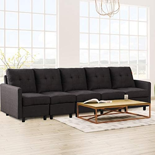 DAZONE Modular Sectional Sofa Assemble 5-Piece Modular Sectional Sofas Bundle Set Cushion