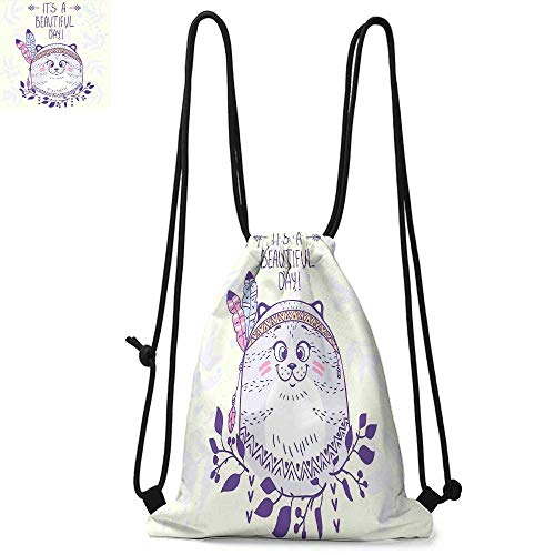 Cat Durable Drawstring Backpack Native American Culture Inspired Hippie Cat with Ethnic Tribal Feathers Artsy CartoonSuitable for carrying around W17.3 x L13.4 Inch Purple Cream