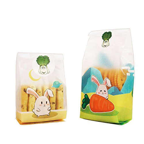 Felice Arts 100pcs Cute Rabbit Cookie Biscuit Candy Frosted Bags Translucent Plastic Bags for Bakery Party with 120pcs Radish dishes Design Stickers by Felice Arts