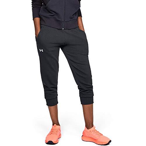 (Under Armour Women's Slim Leg Fleece Crop, Black (001)/White, XX-Large)
