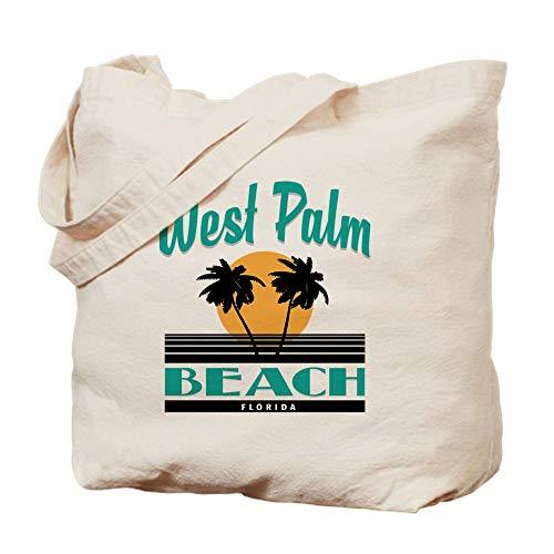 CafePress West Palm Beach Florida Natural Canvas Tote Bag, Reusable Shopping Bag (Palm Beach West Shopping)