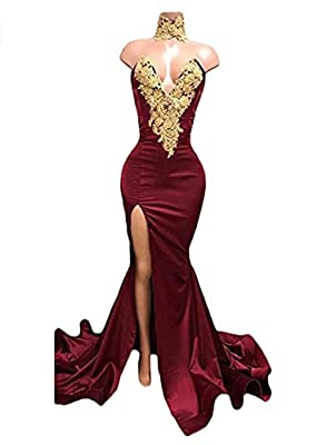 Dressesonline Women's Sexy Mermaid Prom Dress Gold Appliques Long Split Evening Gowns