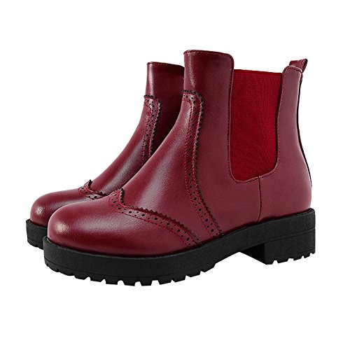 Carolbar Womens Retro Vintage Fashion Comfort Pull-on Mid Heel Short Boots Wine Red lm16D