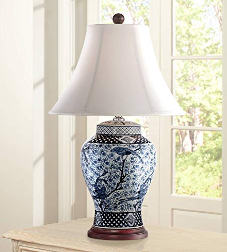 Shonna Traditional Table Lamp Porcelain Blue and White Bird and Branch Jar White Bell Shade for Living Room Family Bedroom - Barnes and Ivy (Ginger Jar Lamps)